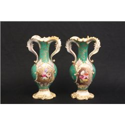 Pair Old Paris vases with floral motif