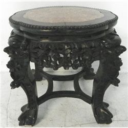 Marble top teakwood pedestal