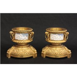 Pair dore bronze bases with porcelain plaques