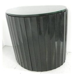 Contemporary black lacquer demilune bar