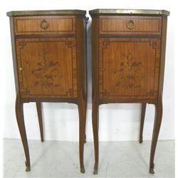 Pair French marble top night stands
