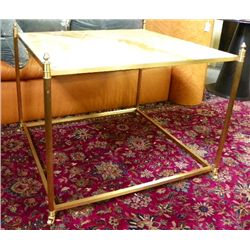 Honey marble top solid brass table
