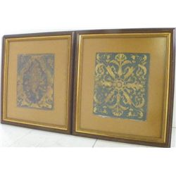 Pair framed French leather hand tooled panels