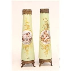 Pair milk glass brass Victorian vases