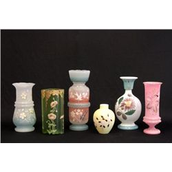 6 hand painted Victorian vases