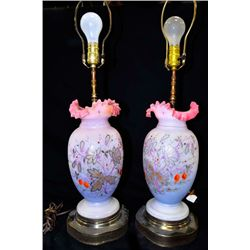 Pair 19th c. jewelled opalescent lamps