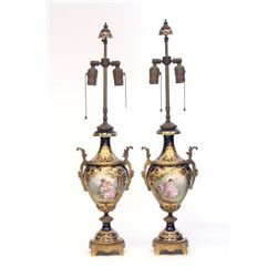 Pair Sevres lamps