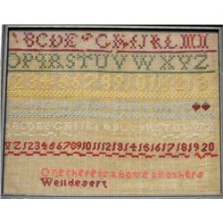 Antique American sampler ca. mid 1800's