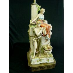 Double figural porcelain lamp