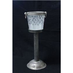 Silver plate, cut glass champagne bucket & stand