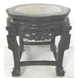 Chinese carved teakwood marble top pedestal