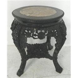 Chinese carved teakwood mable top pedestal