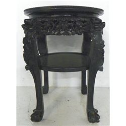 Chinese marble inset teakwood stand
