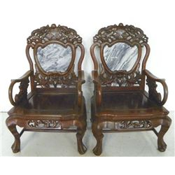 Pair Imperial Chinese carved arm chairs