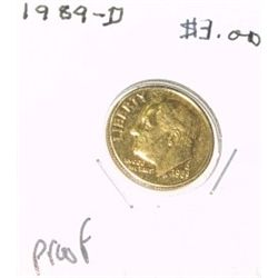1989-D ROOSEVELT SILVER DIME RED OOK VALUE IS $3.00 *RARE PROOF HIGH GRADE*!!