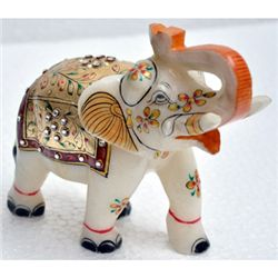 Marble UpTrunk Elephant w/ Gold Plated Design 5in.x6in.
