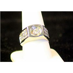 Fancy Gent's 14k Diamond Ring J507