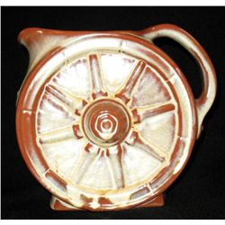 Frankoma Prairie Green Brown Wagon Wheel Pitcher