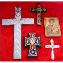 Lot of Religious Crosses & Mary Wood Plaque