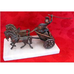 Bronzed Chariot w/Horses Statue on Marble Base