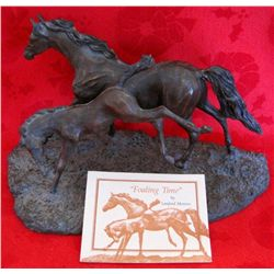 "Franklin Mint ""Foaling Time"" Bronze Sculpture"