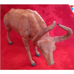 Large Leather Bull Figure