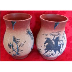 Pair of Signed Navajo Indian Sand Painted Vases