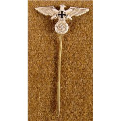 WWII NAZI ORIG STICKPIN WITH EAGLE & SWASTIKA GES GESCH