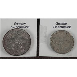 2 NAZI SILVER COINS-2 & 5 REICHSMARKS-1936 & 38 NICE