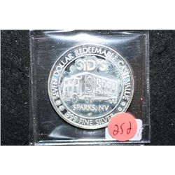 1993 Sierra Sid's Sparks NV $7 Gaming Token; .999 Fine Silver
