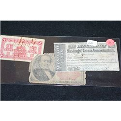 1864 Mechanics Saving & Loan Assoc. 25 Cent Bond, 1874 US 25 Cent Fractional Currency & China 1 Cent