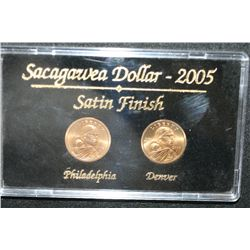 2005 Sacagawea $1 Coin Set; Satin Finish; P&D Mints