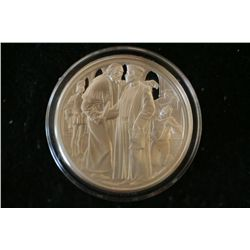 Shakespeare Tradegy Sterling Silver Round; The Merchant Of Venice; .925 Silver .530 Oz.