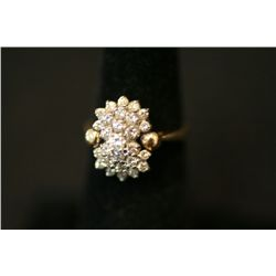 14K Gold Cocktail Ring Size 5 With 3/4-1 Karat Diamonds
