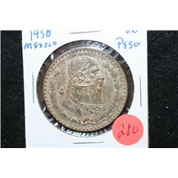 1958 Mexico Un Peso Foreign Coin