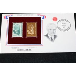 22K Gold Replica Stamp W/Postal Stamp Issued 1963; Cordell Hull-Great Americans