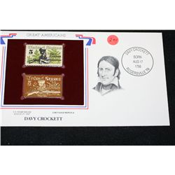 22K Gold Replica Stamp W/Postal Stamp Issued 1967; Davey Crockett-Great Americans