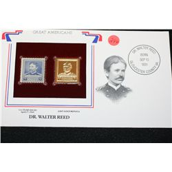 22K Gold Replica Stamp W/Postal Stamp Issued 1940; Dr. Walter Reed-Great Americans