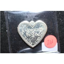 "Heart Shaped Silver Ingot; .999 Fine Silver 1/2 Oz.; ""Especially For You"""