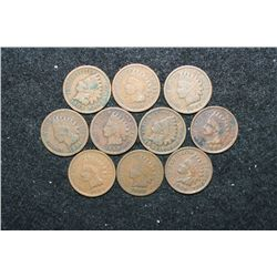 Indian Head One Cent; Various Dates & Conditions; Lot of 10