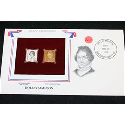 22K Gold Replica Stamp W/Postal Stamp Issued 1980; Dolley Madison-Great Americans