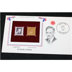 22K Gold Replica Stamp W/Postal Stamp Issued 1967; Eugene O'Neill-Great Americans
