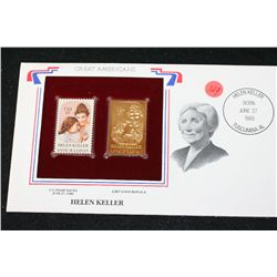 22K Gold Replica Stamp W/Postal Stamp Issued 1980; Helen Keller-Great Americans