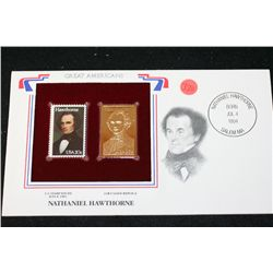 22K Gold Replica Stamp W/Postal Stamp Issued 1983; Nathaniel Hawthorne-Great Americans