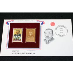 22K Gold Replica Stamp W/Postal Stamp Issued 1979; Martin Luther King Jr.-Great Americans