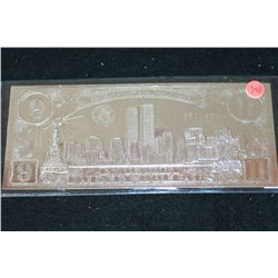 September 11th Coin Certificate; In Memory Twenty Dollars; Twin Towers on One Side Vs. New Buildings