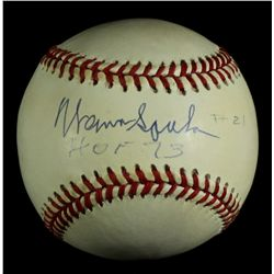 "Warren Spahn Signed ONL Baseball: Inscribed ""HOF 73"" (JSA COA)"