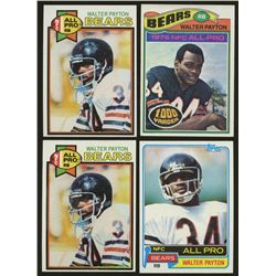 Lot of (4) Vintage Walter Payton Football Cards with 1977 Topps, (2) 1979 Topps & 1981 Topps