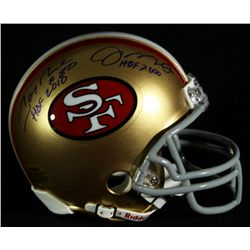 Joe Montana & Jerry Rice Signed & Inscribed 49ers Mini-Helmet (Rice & Montana Holograms)