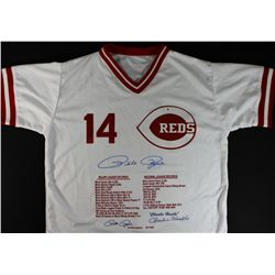 "Pete Rose Signed LE Career Statistics Reds Jersey: Inscribed ""Charlie Hustle"" (GA COA)"